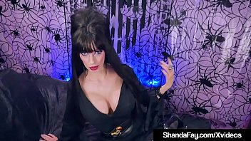 Halloween Elvira Shanda Fay shoves a cock in her mature mouth & gets pussy fucked until she creampies in this hot all hallows eve's sex clip!