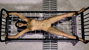 Girl stretched out on a metal cot and electrocuted. This is a 3D animation with no sound.