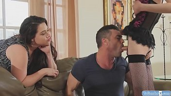 Ts Kira Crash gives a bj to a guy.His wife caughts them and makes him suck her dick.The cheating husband gets barebacked and he fucks the ts asshole