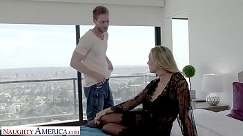 Hot blonde wife gets fucked by big dick while cuckold hubby watches