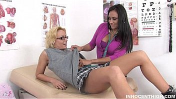 Horny teen having strap on sex with the school nurse