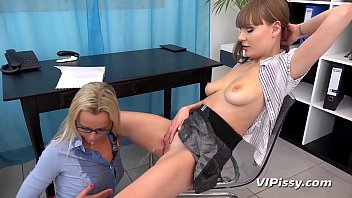 Lesbian piss play in the office