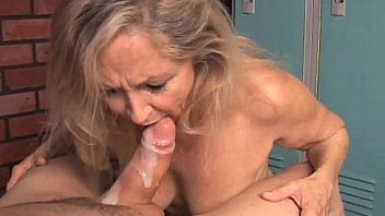 Sweet chubby milf sucks cum out