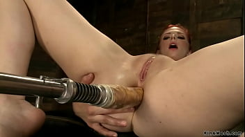 Natural busty redhead Penny Pax masturbates with anal sex toy then up her ass and pussy takes huge dicks machines in various positions