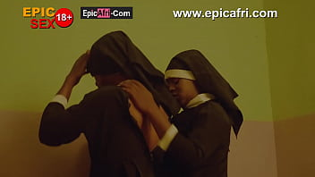 Ebony nuns ride my big black dick - first threesome experience