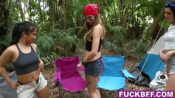 Teen whores camping in the outdoor approached by a guy