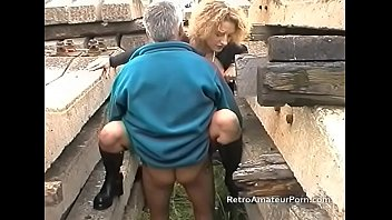 Skinny amateur has sex with an older man outside