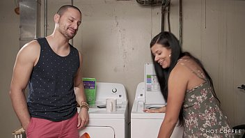 Latina single talks a gay man to fuck her while they do laundry