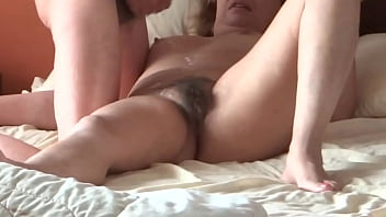 55-YEAR-OLD WOMAN, MY MOTHER'S SISTER, ALWAYS ASKS ME TO JERK OFF AND CUMSHOTS INTO HER HAIRY PUSSY, TITS AND BIG ASS