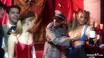 Dirty Gangbang with many Couples in Carneval Dresses d. on Party