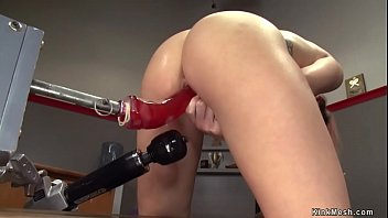 Hot bodied brunette athlete beauty Jenna Ashley masturbates with Hitachi in chair in coachs office then fucks different machines and squirts