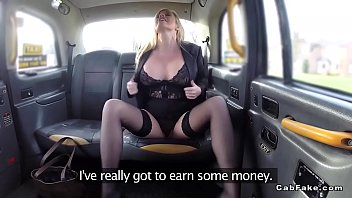 Hot blonde flashing big tits in fake taxi