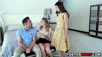 Horny foster daughter 3some fucks parents