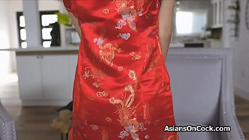 Big cocking Asian bombshell in her traditional silk sating dress