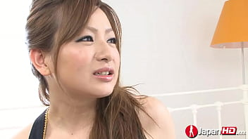 Sinfully Japanese mom Yukina Momose giving handjob and getting hairy muff fucked and cum filled deep