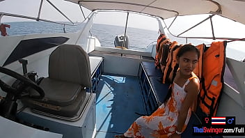 Sex on the water in a boat with his cute Thai teen amateur girl