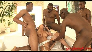 Big tits blonde whore double penetrated by black dudes
