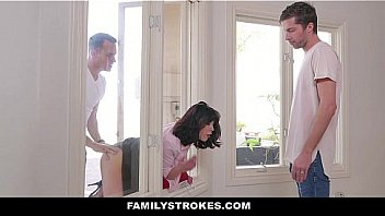 Family Strokes - Naughty Step-sons Fucked Their Hot StepMom (Amber Chase)