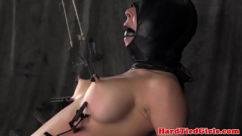 Mask hooded nipple tortured sub punished