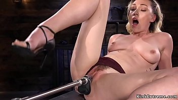 Sexy blonde solo babe Lily LaBeau rubbing clit and fucking machine then in hairy pussy shoves another machine while vibrating clit