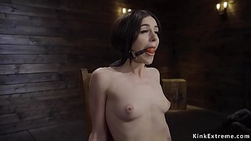 Fresh pale brunette meat slave Rosalyn Sphinx with small tits started her first bondage with ball gag and ankles and wrists shackled in matal device