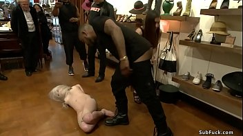 Domme Princess Donna Dolore makes hot blonde slave Ranie Mae at public store gangbang fuck big black cock John Johnson and other white guy