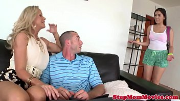 MILF stepmom tastes cum after anal session
