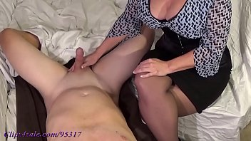 Mature jerks cock cum on her tits