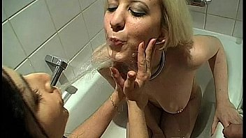 2 sluts drink each others anal creampie from a glass 8