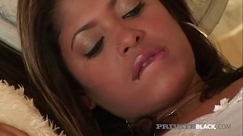 Brown skinned hottie Sandy Rio opens up her juicy pussy & tiny asshole to get 2 huge black dicks in this interracial threesome by