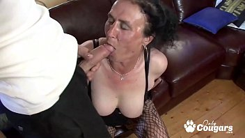Busty brunette granny sitting on fat cock and facialized