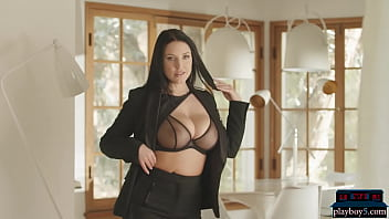 Big natural tits pornstar Angela White interview and stripping