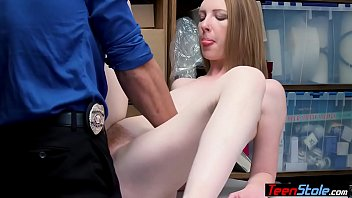 Young redhead shoplifter with small tits banged by a LP officer