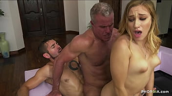 Uncle threesome with cocks in asses and a pussy