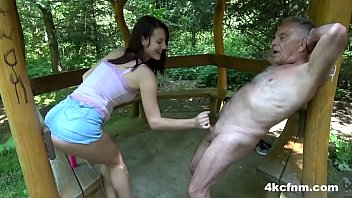 Teasing Grandpa's Dirty Old Cock