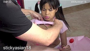 Stickyasian18 thai cherry gags on cock to get model job