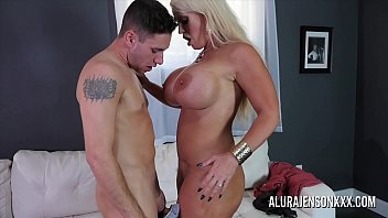 Sexy blonde mom with huge boobs fucked by a younger guy