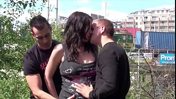 Facial cum in public sex threesome orgy on a pregnant big tits star Stella Fox