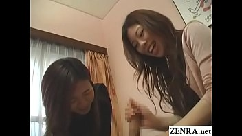 CFNM JAV two clothed women give a masochistic naked man a nonstop handjob that makes him cum before going again to try for another squirt with English subtitles
