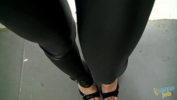 Yoga pants girl shiny over bent in