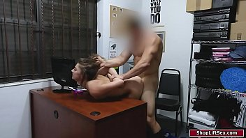 Brunette is caught shoplifting by a security guard.She sucks the officers cock to prevent him from calling the cops.He fucks her from behind