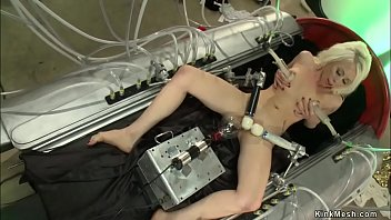 Hot blonde lesbian Lorelei Lee laying with legs spreaded and fucking electric bulb then she fisting Dylan Ryan while getting anal fucking machine