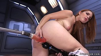 Solo big ass redhead hottie in armchair gets fucking machine from behind