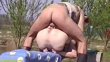 horny hairy bush 75 years old grandma gets rough outdoor banged by her young toyboy