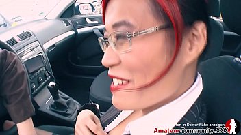 Hot lady in work outfit with nerdy glasses picked up in parking lot