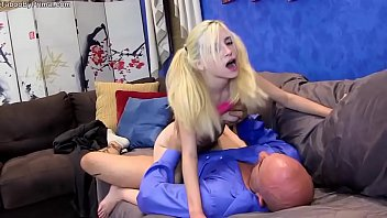 Tiny blonde Piper Perri fucking on sofa