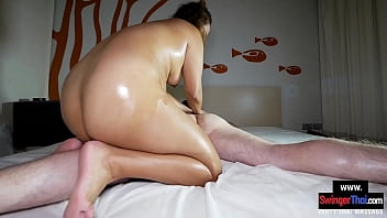 Chubby amateur Asian massage chick working her client
