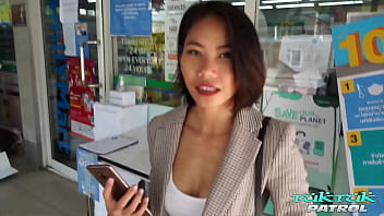 Small tit Thai babe loves the white meat