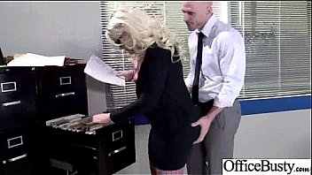 Busty older blonde MILF fucked in the office