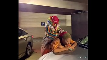 Gibby The Clown fucks ebony in parking garage